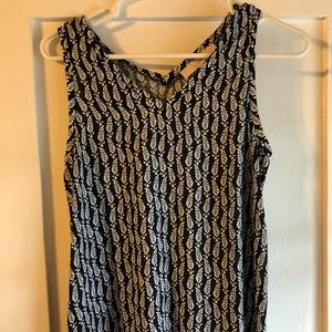 LOFT Navy Blue Print Sleeveless Top - New w/o Tags